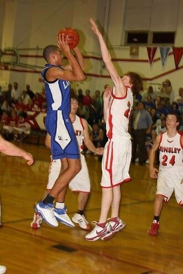 Willie Cauley-Stein shoots against Kinsley High School during his freshman year at Spearville High. Photo: Courtesy Of Jerrod Stanford /