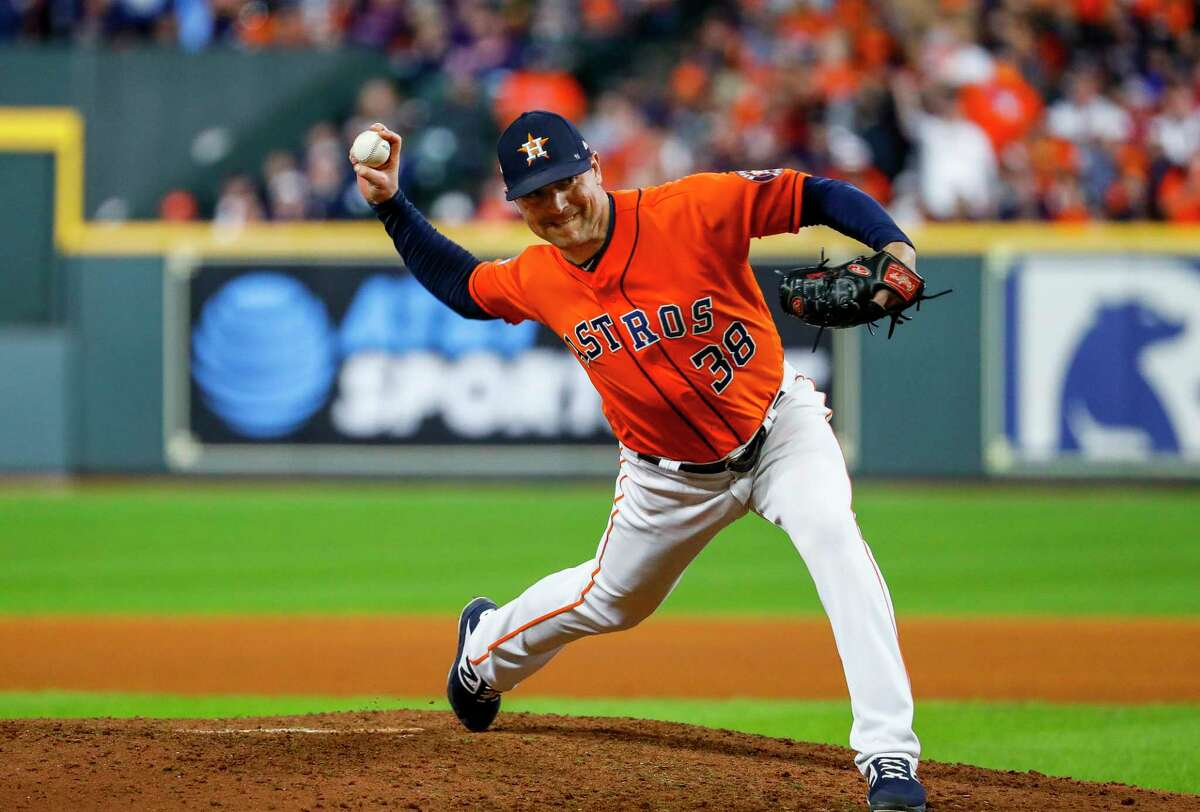 PHOTOS: Each Astros player's contract situation this offseason Houston Astros relief pitcher Joe Smith (38) pitches during the ninth inning of Game 7 of the World Series at Minute Maid Park on Wednesday, Oct. 30, 2019, in Houston.