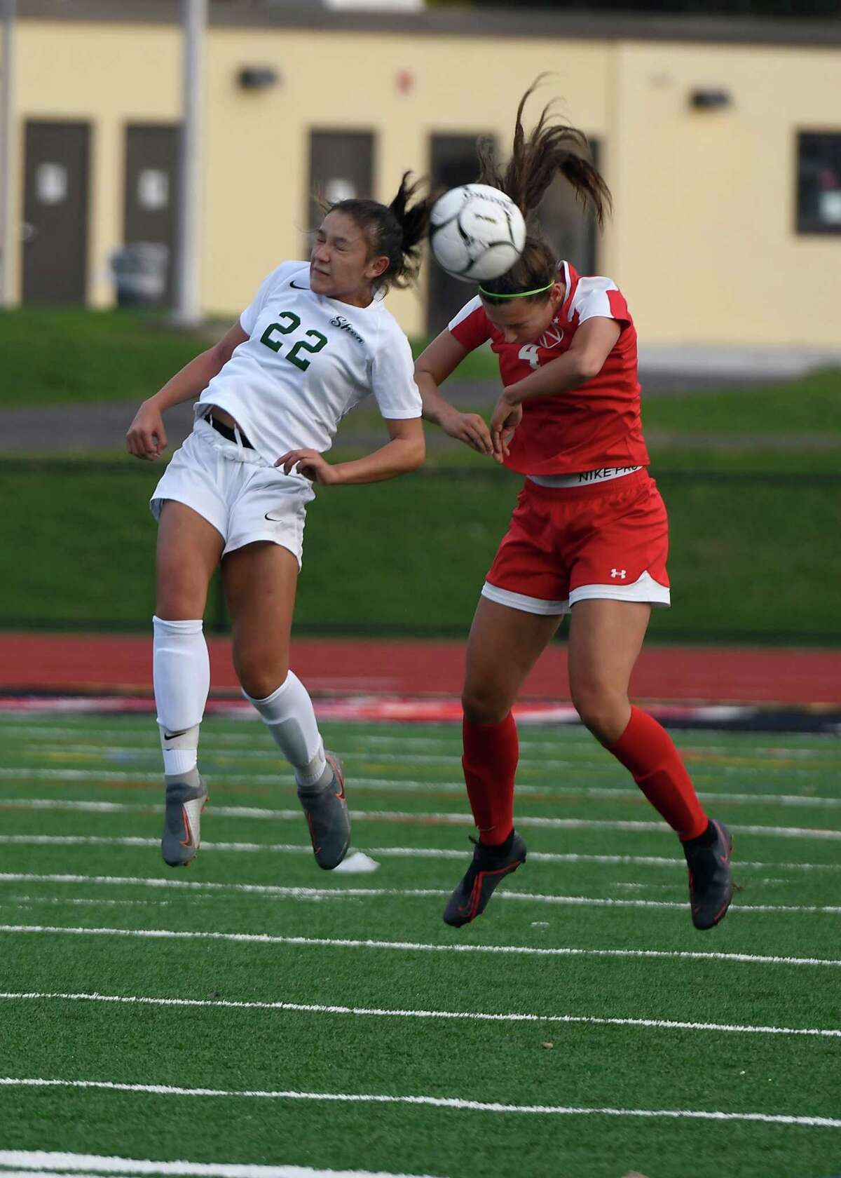 Niskayuna's Olivia Maltbie and Shenendehowa's Georgia Greene attempt to head the ball during their Class AA semifinal match on Wednesday, Oct. 30, 2019, in Mechanicville, N.Y. (Jenn March, Special to the Times Union)