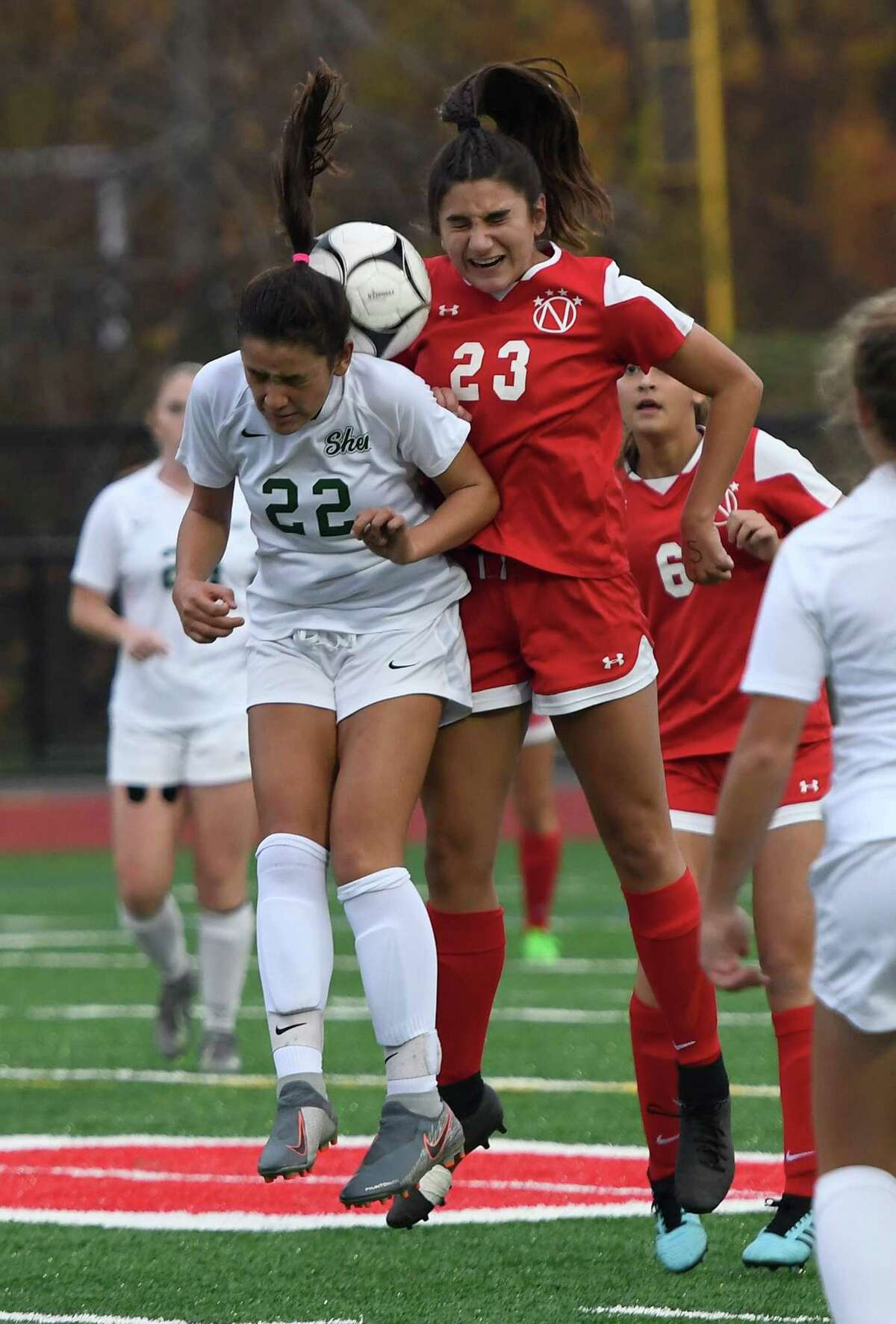 Niskayuna's Maria Tsakalakos and Shenendehowa's Georgia Greene attempt to head the ball during their Class AA semifinal match on Wednesday, Oct. 30, 2019, in Mechanicville, N.Y. (Jenn March, Special to the Times Union)