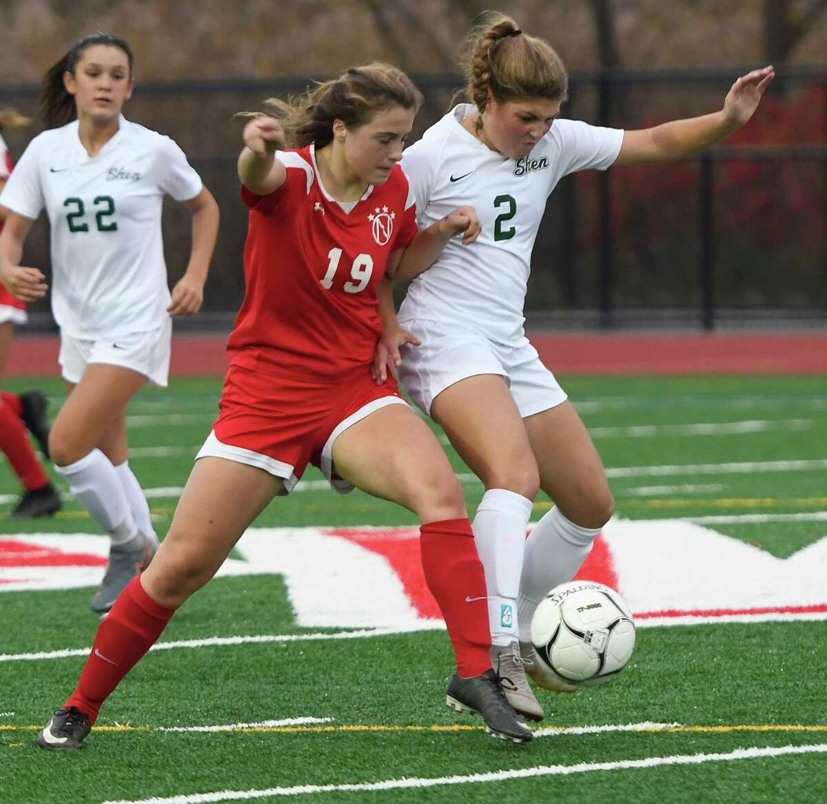 Niskayuna's Mikayla Bechtel and Shenendehowa's Ava Caputo pursue the ball during their Class AA semifinal match on Wednesday, Oct. 30, 2019, in Mechanicville, N.Y. (Jenn March, Special to the Times Union)