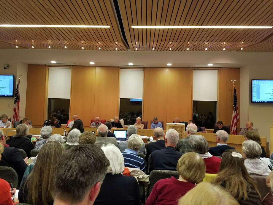It was standing room only in New Canaan Town Hall at the Planning and Zoning Commission meeting as the 70-unit senior retirement facility was discussed on Tuesday, Oct. 29, 2019. Grace Duffield / Hearst Connecticut Media Photo: Grace Duffield / Hearst Connecticut Media