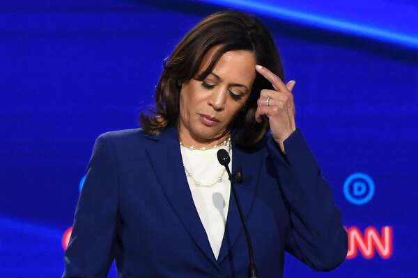 Democratic presidential hopeful California Senator Kamala Harris gestures during the fourth Democratic primary debate of the 2020 presidential campaign season co-hosted by The New York Times and CNN at Otterbein University in Westerville, Ohio on October 15, 2019. (Photo by SAUL LOEB / AFP) (Photo by SAUL LOEB/AFP via Getty Images)