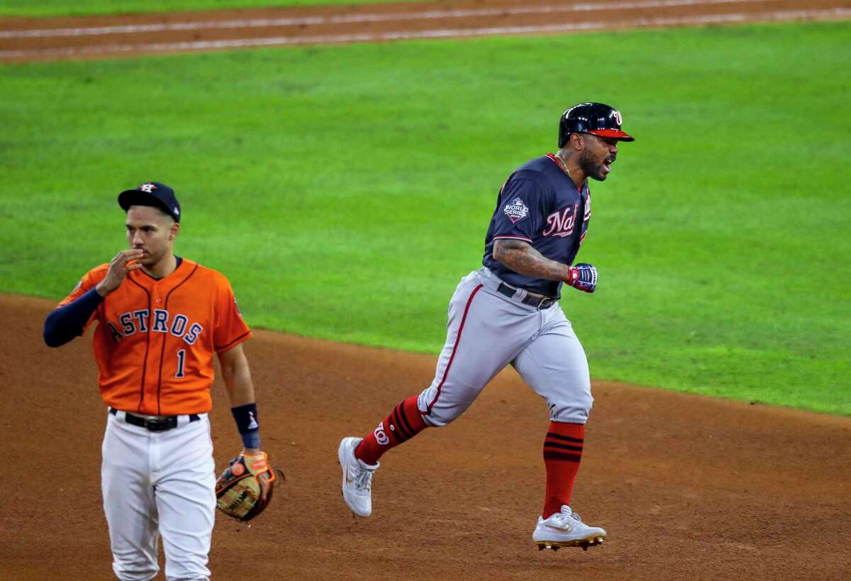The looks on the faces of the Astros' Carlos Correa and Nationals' Howie Kendrick say it all after the latter's go-ahead home run during the seventh inning of Game 7 in the 2109 World Series.