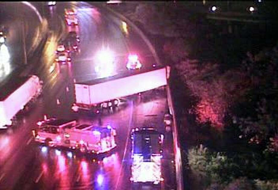Three lanes of southbound I-95 are closed Thursday morning on Oct. 31, 2018 because of a tractor-trailer accident in Bridgeport. Photo: DOT Traffic Cam