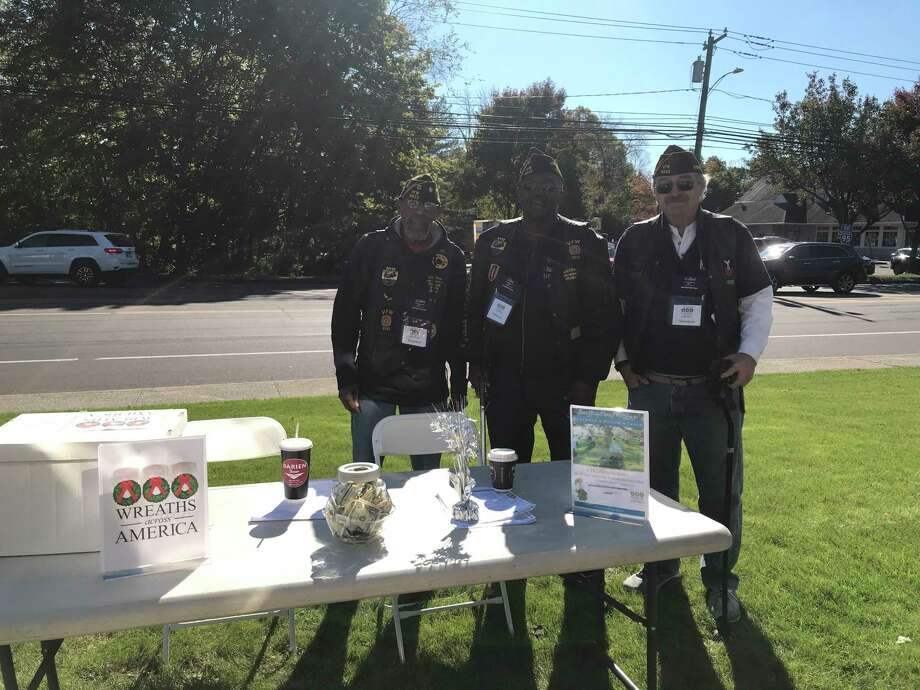 Dennis Clayburn, Lenny Hunter, and Don O'Connell collect for Wreaths Across America at Darien Diner on Oct. 18 Photo: Contributed /