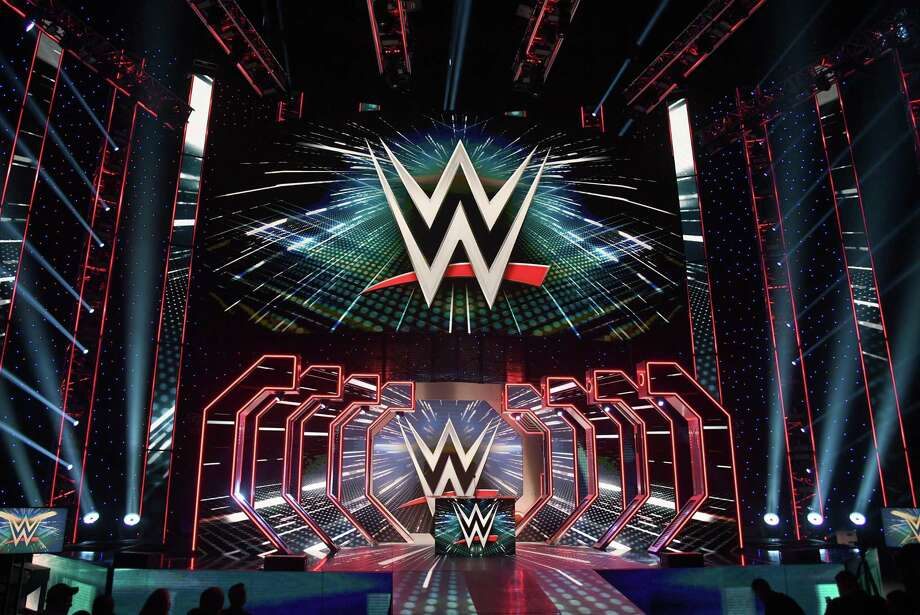 WWE logos are shown on screens before a WWE news conference at T-Mobile Arena on October 11, 2019 in Las Vegas, Nevada. Photo: Ethan Miller / Getty Images / 2019 Getty Images