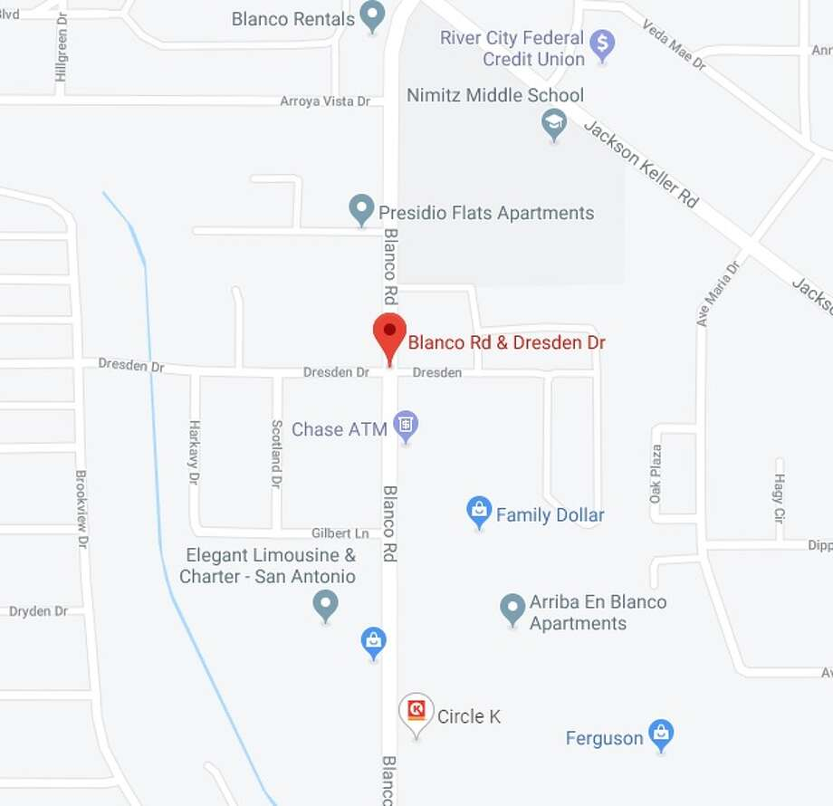 A man riding a bike was hit and killed after a vehicle accidentally pinned him to a utility pole at a North Side intersection Wednesday evening, San Antonio police said. The map shows the approximate location of the accident. Photo: Google Maps