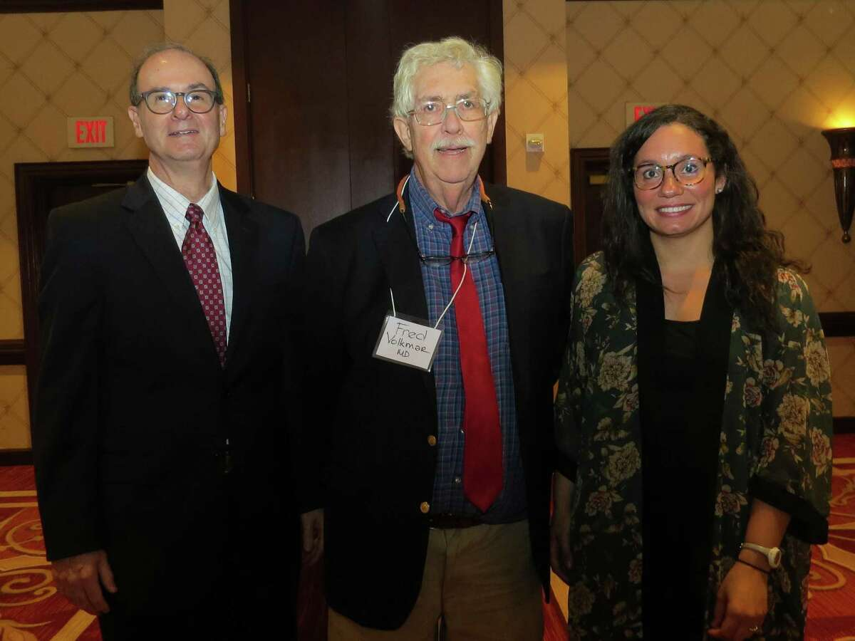(from left to right) Dr. Harris Jacobs, lecture moderator and Bridgeport Hospital chair of pediatrics; and both from the Yale School of Medicine, speaker Dr. Fred Volkmar, author of the Encyclopedia of Autism and editor-in-chief, Journal of Autism and Developmental Disorders, and Kelly Powell, co-director, Toddler Developmental Disabilities Program.
