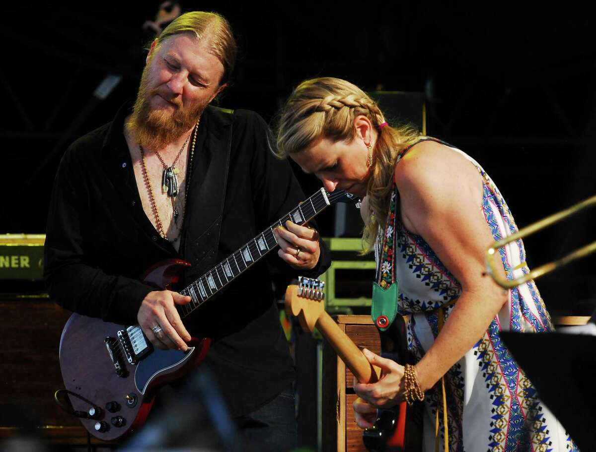 Derek Trucks and Susan Tedeschi with the Tedeschi Trucks Band perform during the Gathering of the Vibes at Seaside Park in Bridgeport, Conn., on Friday July 31, 2015.