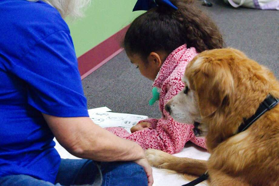 """Amelia Morgan reads to """"Casey"""" a trained therapy dog during the Read to the Dogs program at Helen Hall Library in League City. Photo: Kirk Sides/Staff Photographer"""