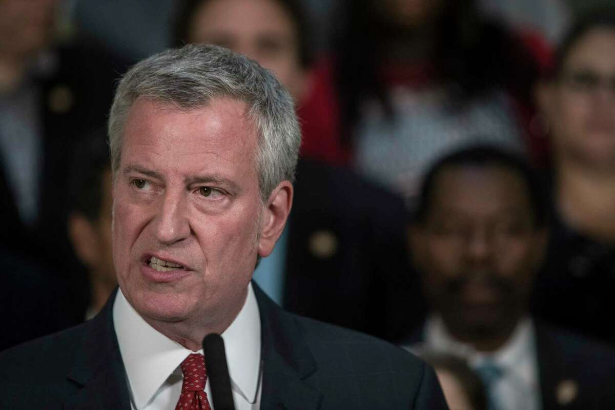 Mayor Bill de Blasio announces the completion of a new New York City budget, at City Hall in Manhattan, June 14, 2019. The budget includes increased spending for lots of programs important to de Blasio and the Council, including an additional 200 social workers to work in city schools.