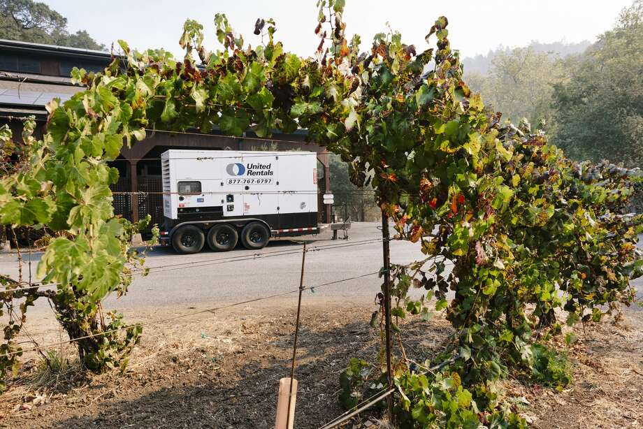 A generator on loan from Field Stone Vineyard is powering Hafner's winery. Photo: Michael Short/Special To The Chronicle / Michael Short 2019