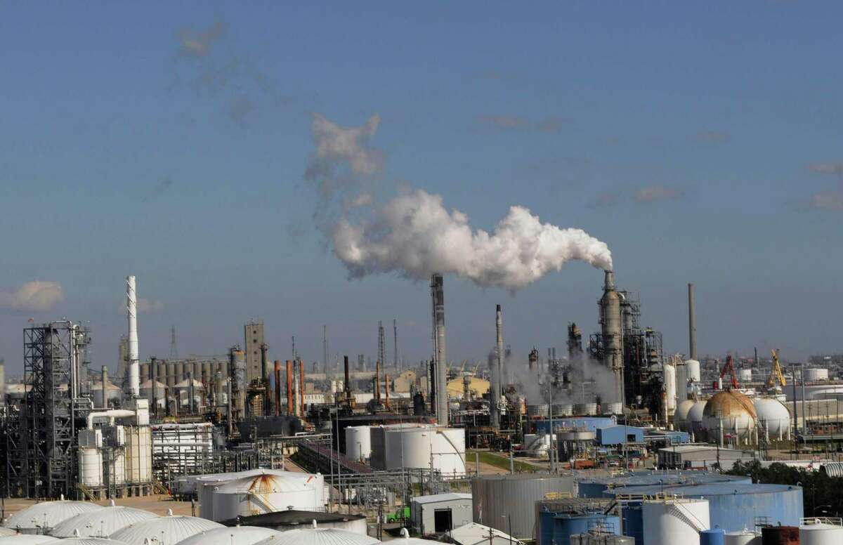 Refineries and chemical plants along the Houston Ship Channel.