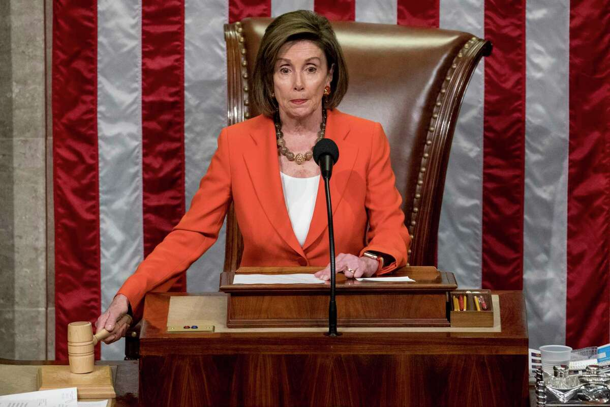 House Speaker Nancy Pelosi of Calif. gavels as the House votes 232-196 to pass resolution on impeachment procedure to move forward with procedures for the next phase of the impeachment inquiry into President Trump in the House Chamber on Capitol Hill in Washington, Thursday, Oct. 31, 2019. The resolution would authorize the next stage of impeachment inquiry into President Donald Trump, including establishing the format for open hearings, giving the House Committee on the Judiciary the final recommendation on impeachment, and allowing President Trump and his lawyers to attend events and question witnesses.