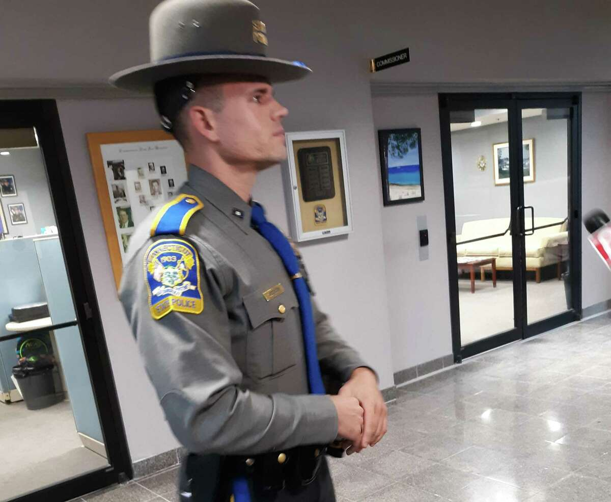 Trooper Tyler Weerden of the Connecticut State Police delivers a press conference for the release of body-camera footage from a Sept. 25 motor vehicle crash involving a state police Sergeant Thursday, Oct. 31.