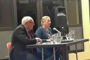 Democratic incumbent Selectmen  Anne Dranginis and Jeff Zullo at a debate Wednesday night at the Litchfield Community Center.