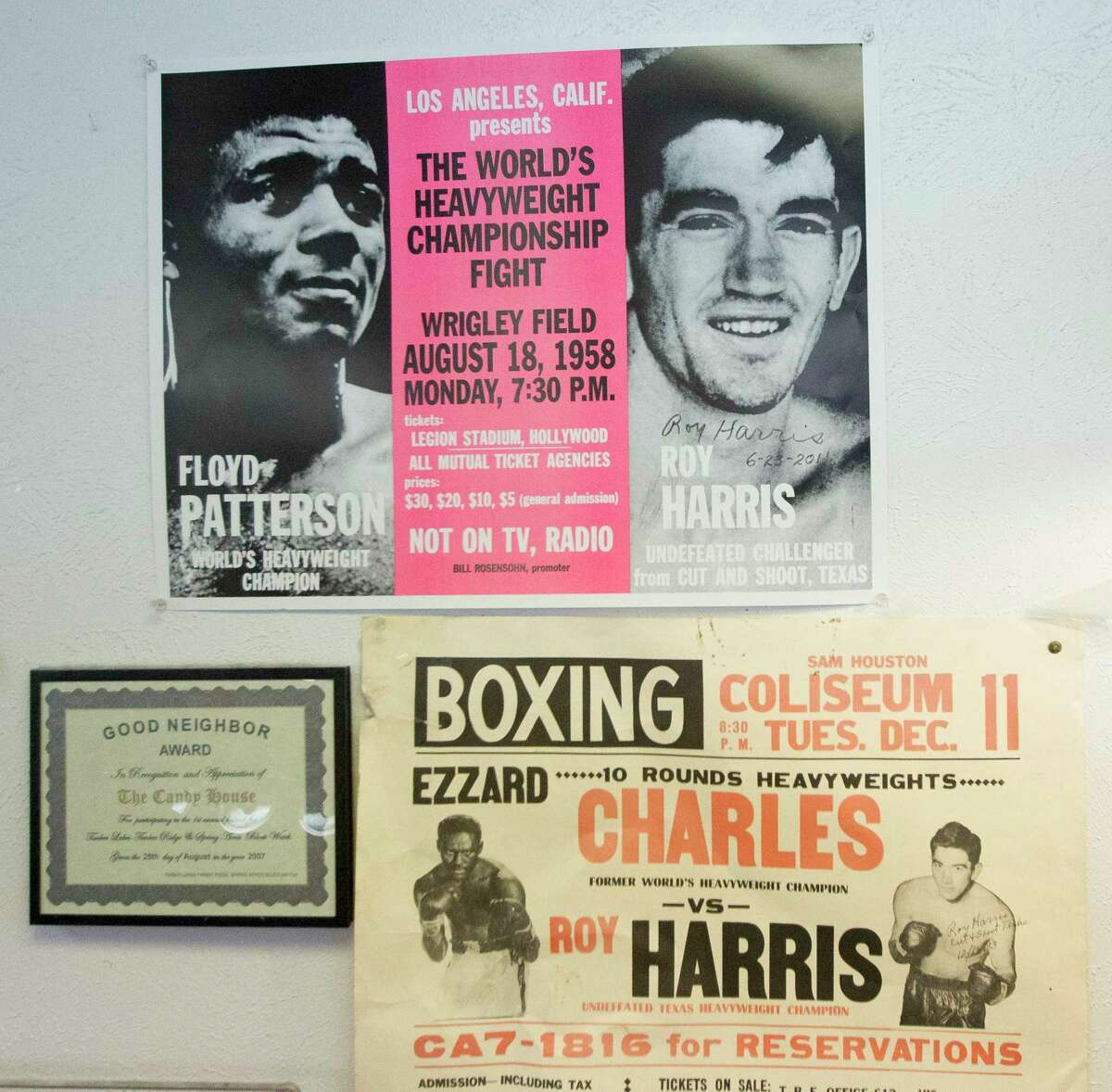 Autographed posters of retired heavyweight boxer Roy Harris that hang in The Candy Shop on Glen Loch Drive, Wednesday, Oct. 30, 2019, in Spring. The Cut and Shoot resident and his family have occasionally visited the store Baker and his wife have owned for more than 20 years.