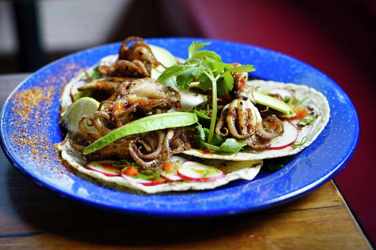 Pulpo tacos, charred baby octopus, at Tatu Tacos & Tequila on Wednesday, Oct. 9, 2019, in Saratoga Springs, N.Y. (Paul Buckowski/Times Union)