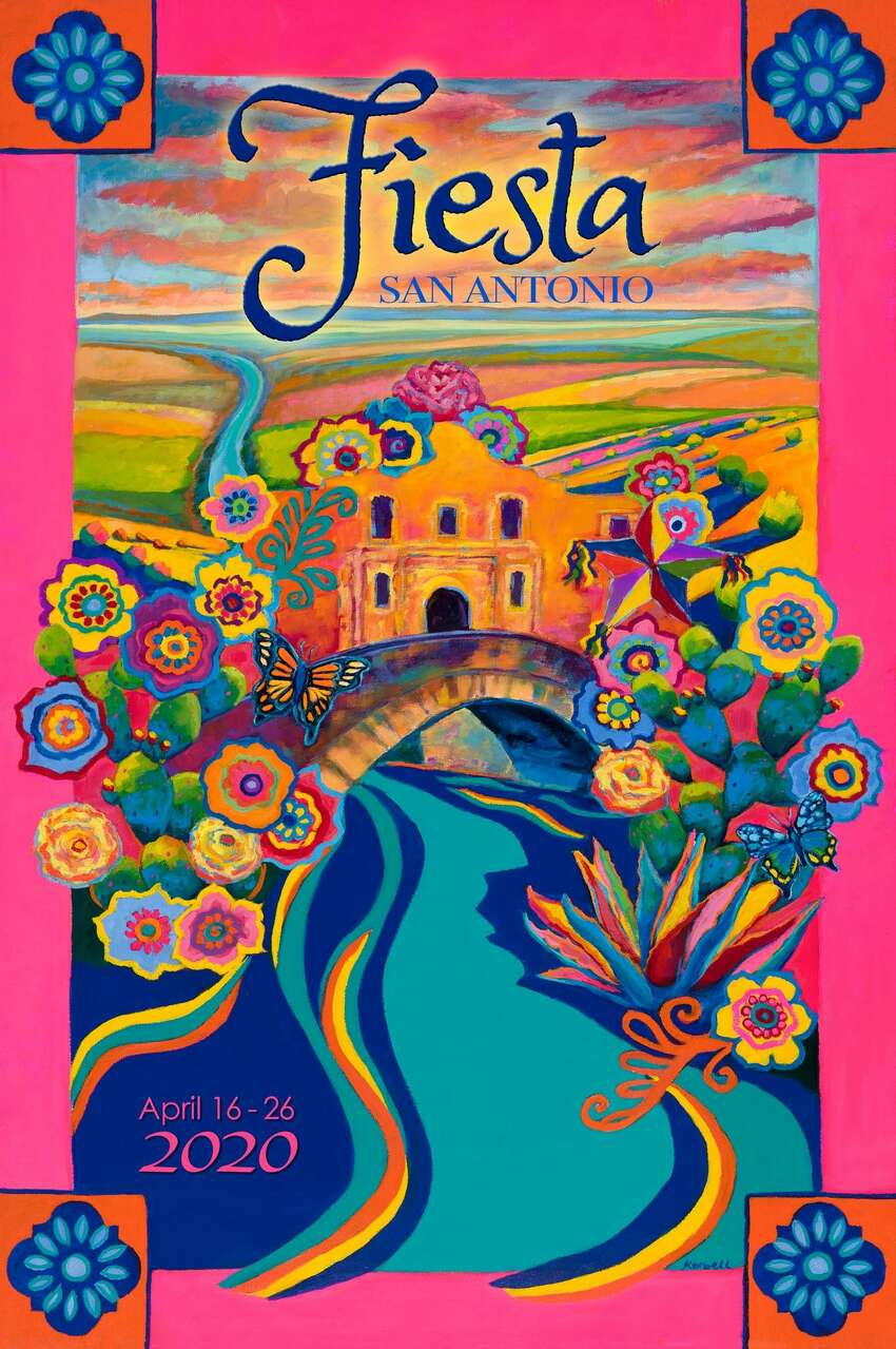 2020 Fiesta posterThe 2020 Fiesta poster by Caroline Carrington depicts the Alamo and Riverwalk with a Texas Hill Country-like landscape encased by talavera tiles and colorful flowers. Read more here.