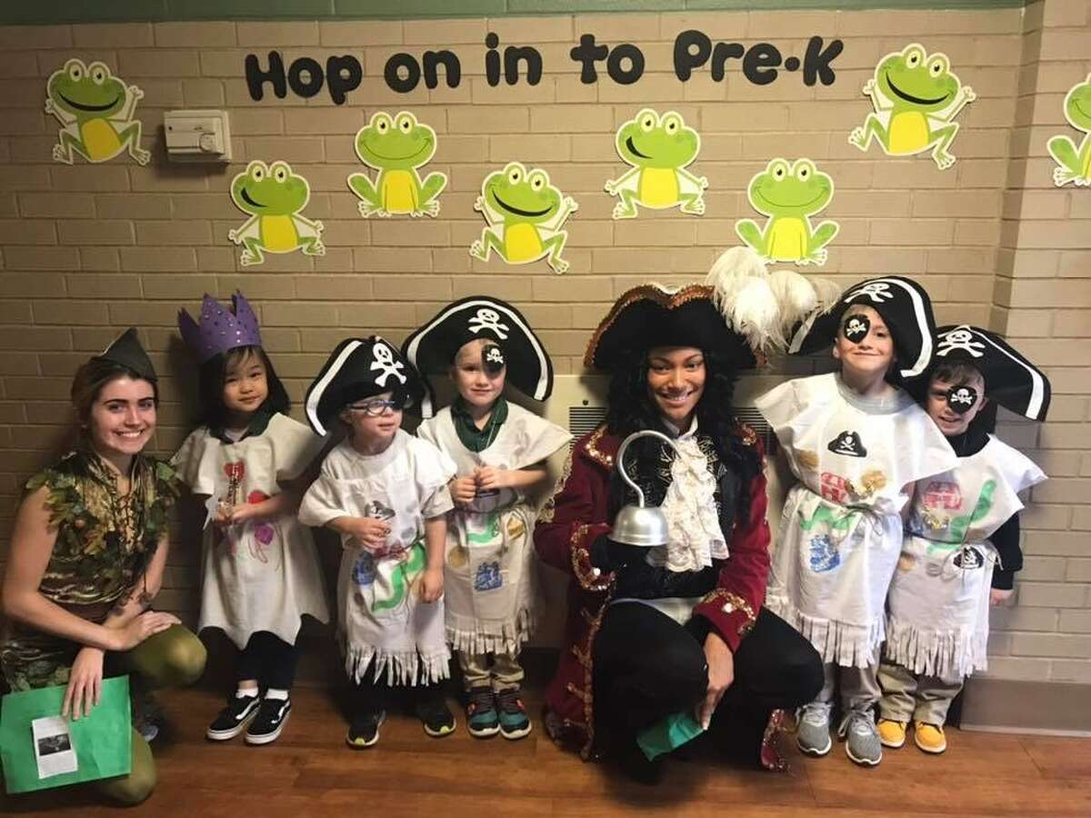 Students Laniyah Diaz as Captain Hook and Meg Harkins as Peter Pan visited the Hamden Library and St. Rita School to celebrate Halloween!