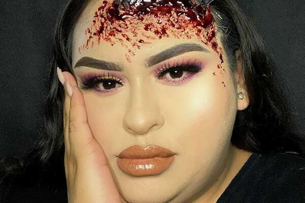 Yvette Marie Gonzalez, from Donna, Texas, captured the fear of punishment by flying chancla in her latest makeup look which includes an actual flip flop dug into her forehead.