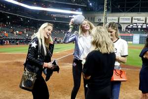 HOUSTON, TEXAS - OCTOBER 10: Model Kate Upton, Daniella Rodriguez, Kat Rogers and Amy Cole  on the field after Game 5 of the ALDS against the Tampa Bay Rays at Minute Maid Park on October 10, 2019 in Houston, Texas. Houston advances with a 6-1 win. (Photo by Bob Levey/Getty Images)