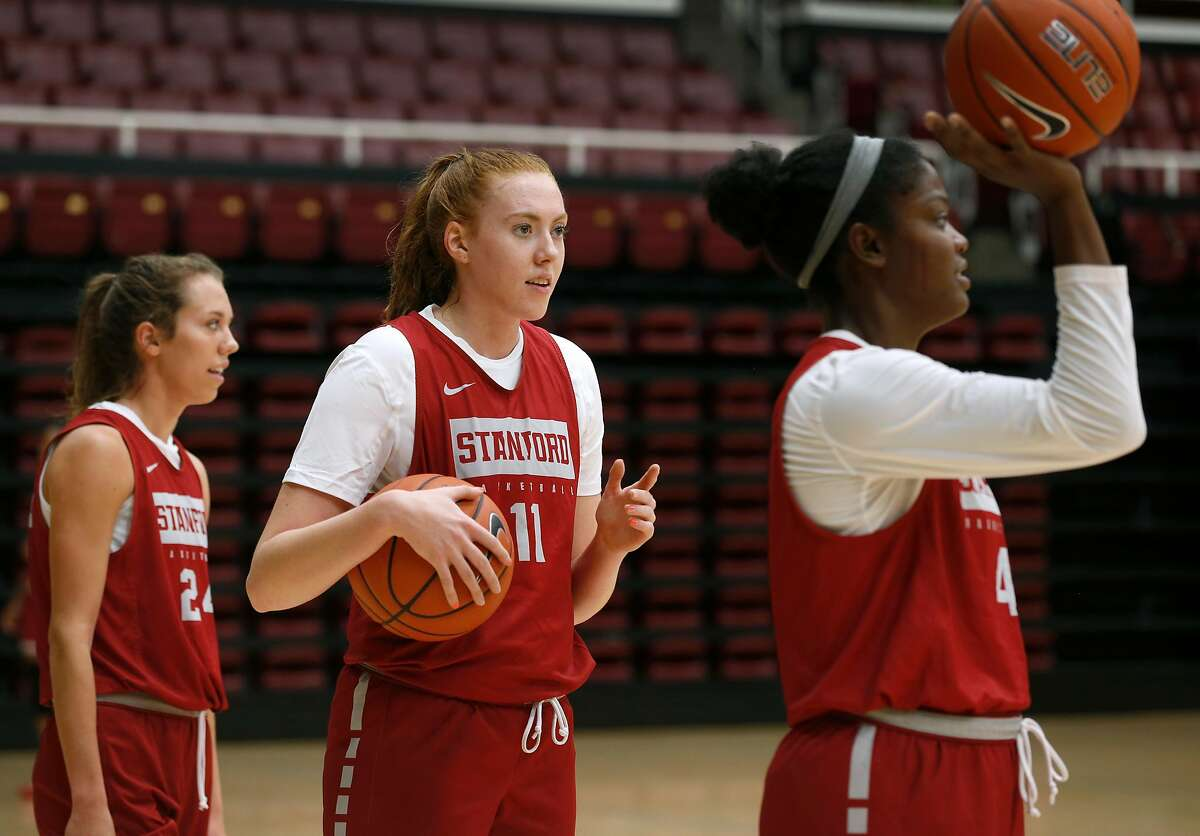 Ashten Prechtel (11) participates in a Stanford Cardinal women's basketball team practice at Maples Pavilion in Stanford, Calif. on Wednesday, Oct. 23, 2019.