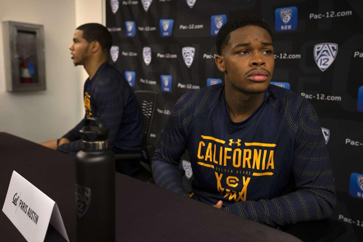 California's Matt Bradley, left, and Paris Austin speak during the Pac-12 NCAA college basketball media day Tuesday, Oct. 8, 2019 in San Francisco. (AP Photo/D. Ross Cameron)