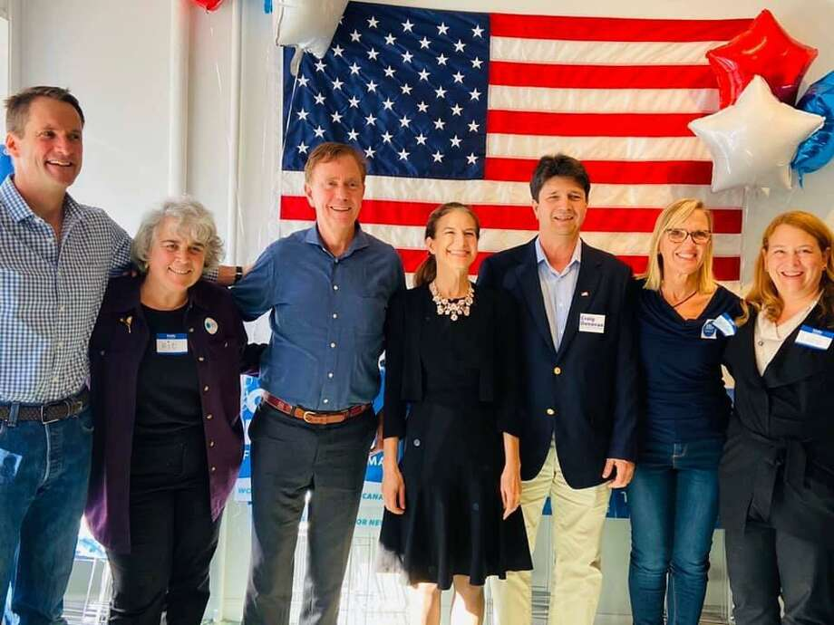 U.S. Rep. Jim Himes, New Canaan Selectman Kit Devereaux, Gov. Ned Lamont, Lt. Gov. Susan Bysiewicz, New Canaan First Selectman candidate Craig Donovan, New Canaan Democratic Town Committee Chair Christina Fagerstal and State Rep. Lucy Dathan at the New Canaan Democrats Headquarters Grand Opening Party, which took place on Sept. 19, 2019, at their 114 Main Street location. The Headquarters is open daily from 10 a.m. until 8 p.m. until the election on Tuesday, Nov. 5, 2019. The Committee also held a Get Out The Vote Initiative Kick Off Party (also known as GOTV) for short) on Sunday, Nov. 3, 2019 at the Silvermine Market located at 1032 Silvermine Road in New Canaan, Connecticut. Photo: New Canaan Democratic Town Committee / Contributed photo Photo: Contributed Photo