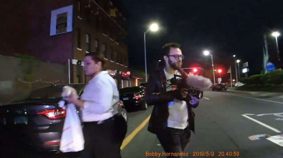 A screen capture from Bridgeport PD body cam footage at a protest for Jayson Negron on Fairfield Ave on May 9th 2019 in Bridgeport, Conn. Eleven protesters and a reporter for the Connecticut Post were arrested. The screen capture is from the body cam footage of Bridgeport Police Officer Bobby Hernandez.