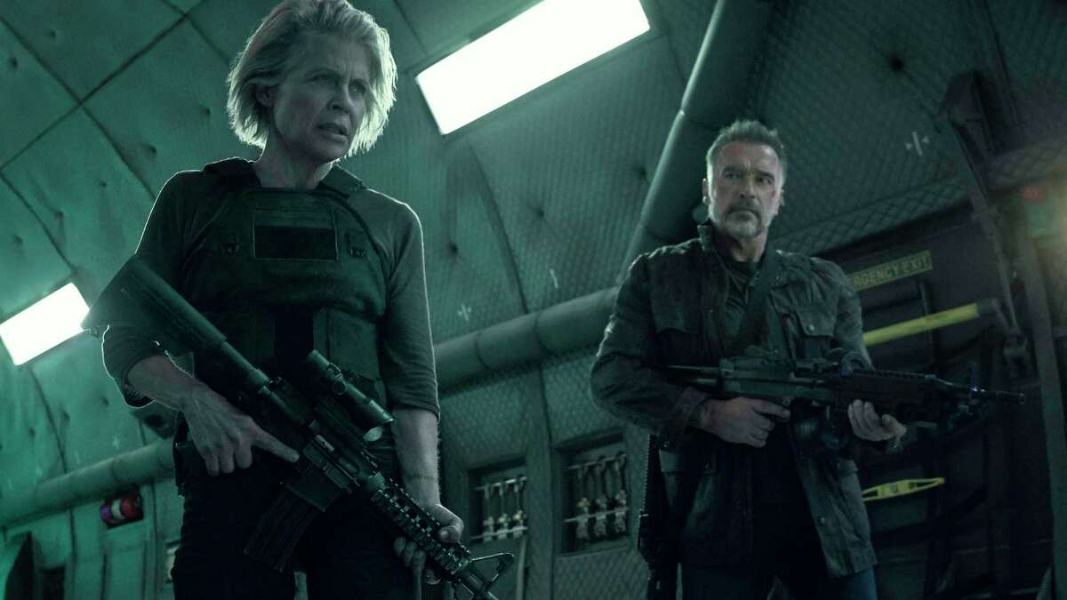 This image released by Paramount Pictures shows Linda Hamilton, left, and Arnold Schwarzenegger in