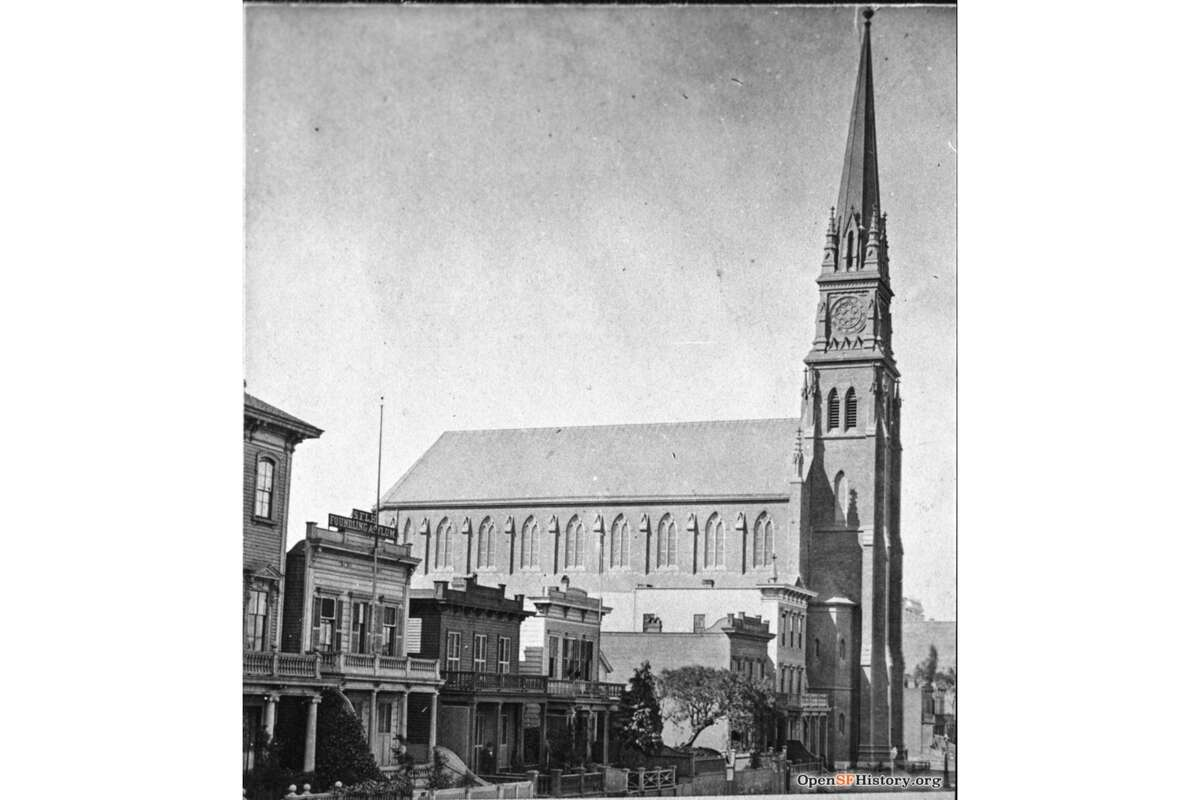 Mission near Fourth is seen circa 1875 in San Francisco. At right is St. Patrick's Church. At left, SFLH (San Francisco Lying-in Hospital) and Foundling Asylum, which as incorporated in April 1868 as a childbirth center, home for unwed mothers and for taking in abandoned children.