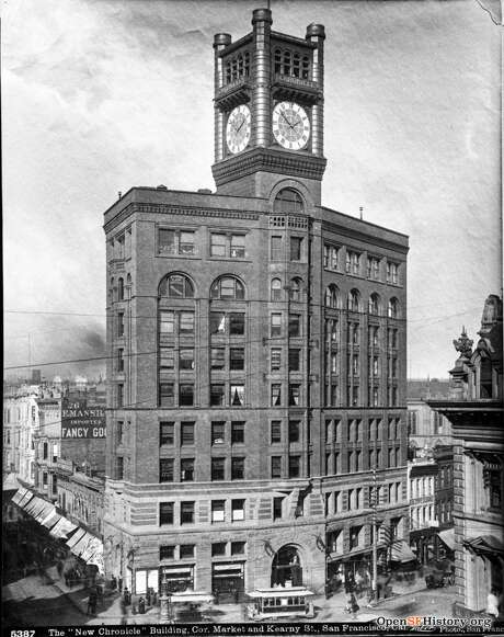 The San Francisco Chronicle building at the corner of Market and Kearny St. in 1895. Photo: OpenSFHistory / Wnp37.10107.jpg