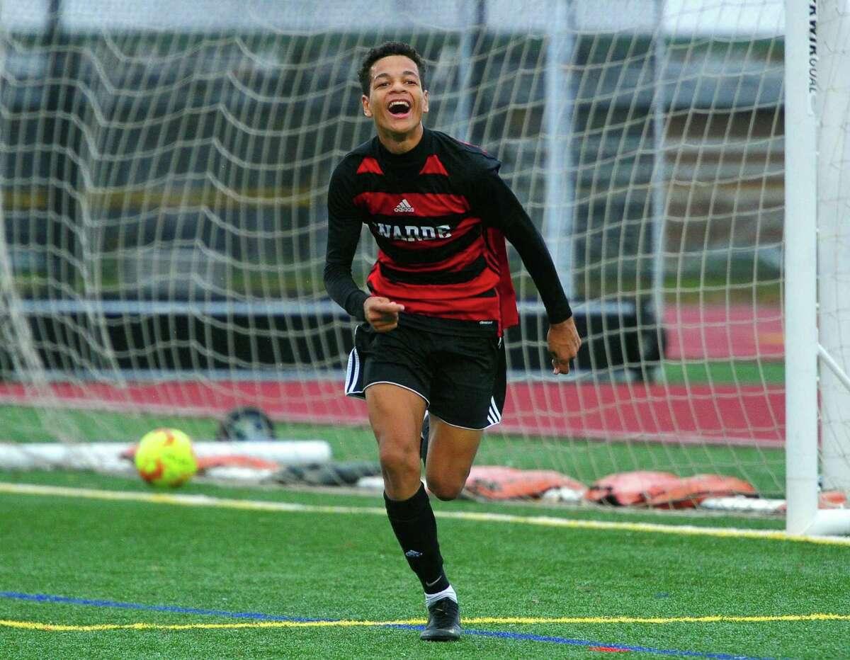 Fairfield Warde's Jordan Klicin (17) celebrates after scoring a goal against Fairfield Ludlowe during boys soccer action in Fairfield, Conn., on Thursday Oct. 31, 2019.