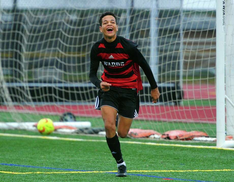 Fairfield Warde's Jordan Klicin (17) celebrates after scoring a goal against Fairfield Ludlowe during boys soccer action in Fairfield, Conn., on Thursday Oct. 31, 2019. Photo: Christian Abraham / Hearst Connecticut Media / Connecticut Post