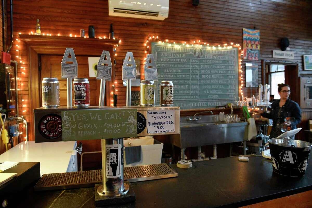 Sarah Davis tends bar in the Argyle Brewing Company on Thursday, Oct. 31, 2019 in Cambridge, N.Y. (Lori Van Buren/Times Union)