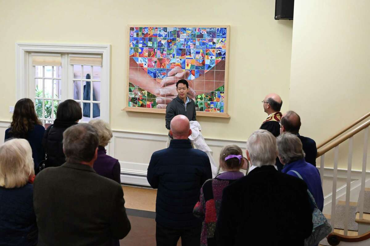 Salisbury Congregational unveiled a collaborative mural project during a special celebration on Oct. 20. The project was initiated by Hotchkiss School student John Shin.