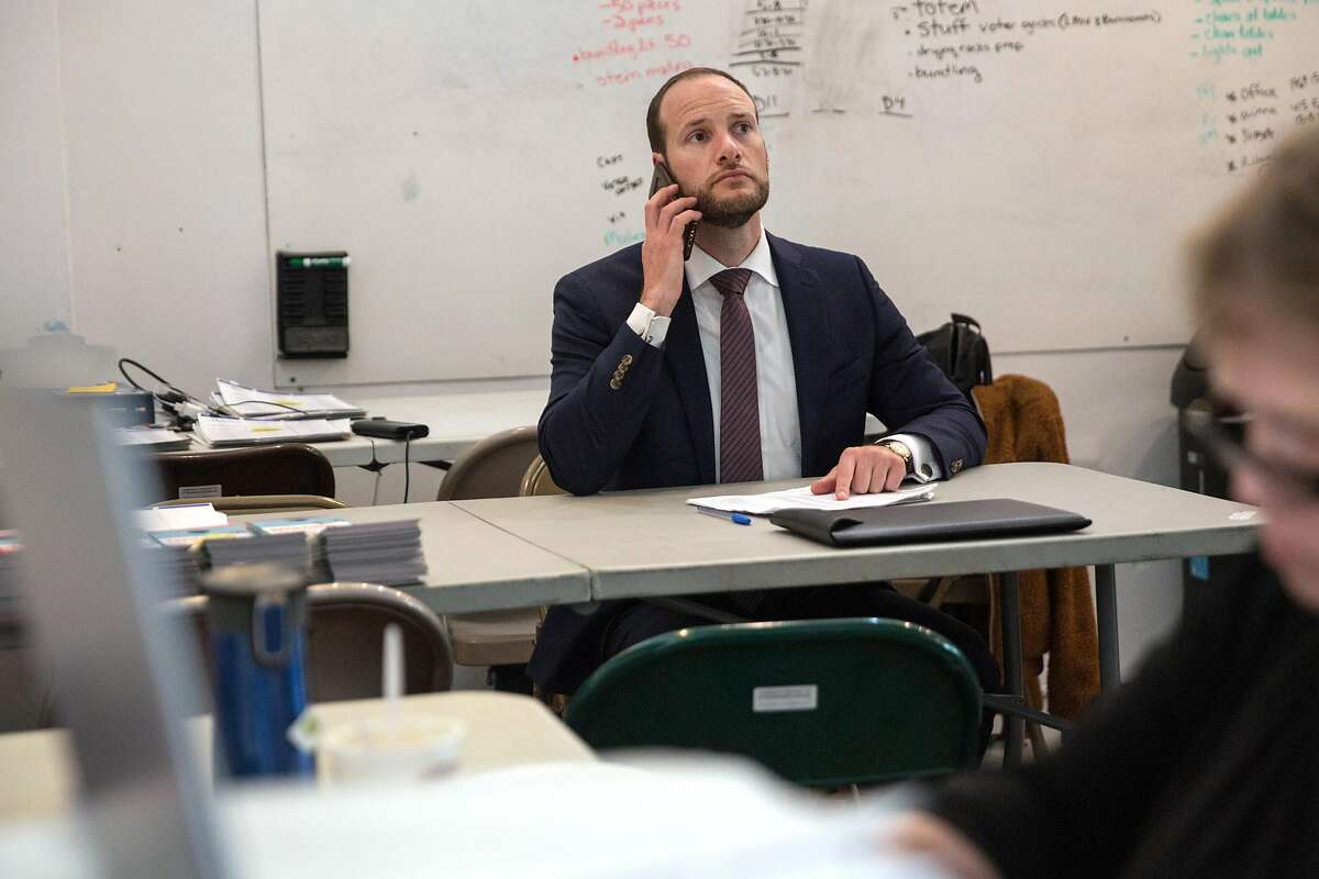 Chesa Boudin, a candidate for San Francisco District Attorney, make calls to undecided voters at his campaign headquarters on Thursday, October 31, 2019. San Francisco, Calif.