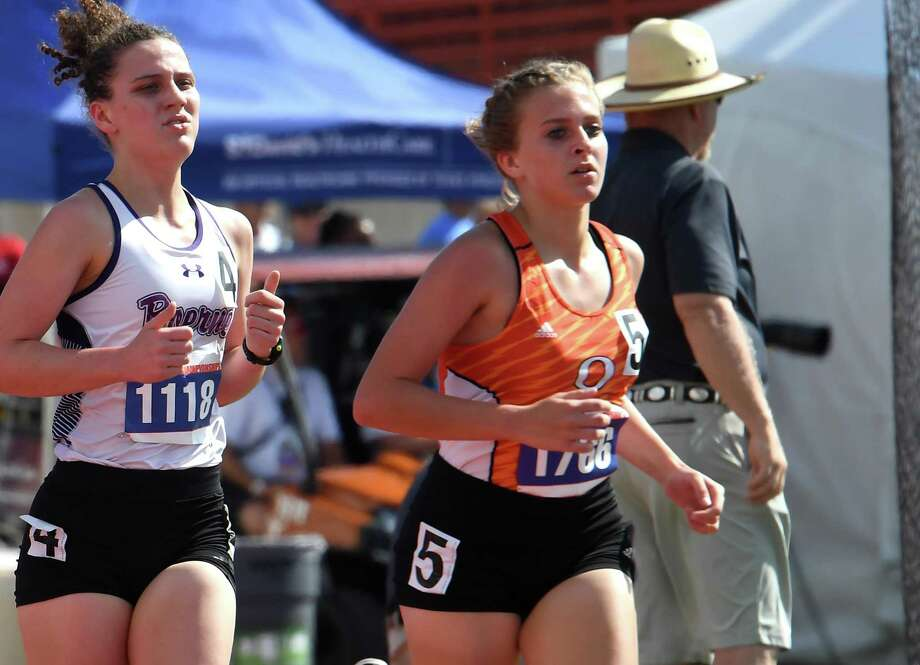 Orangefield's Maddison Helm competes in the 4A, 3,200 meter run at the State Championship meet in Austin on Friday, May 11. Maddison placed 7th in the event.   Photo taken Friday, May 11, 2018  Guiseppe Barranco/The Enterprise Photo: Guiseppe Barranco / Guiseppe Barranco/ / Guiseppe Barranco ©