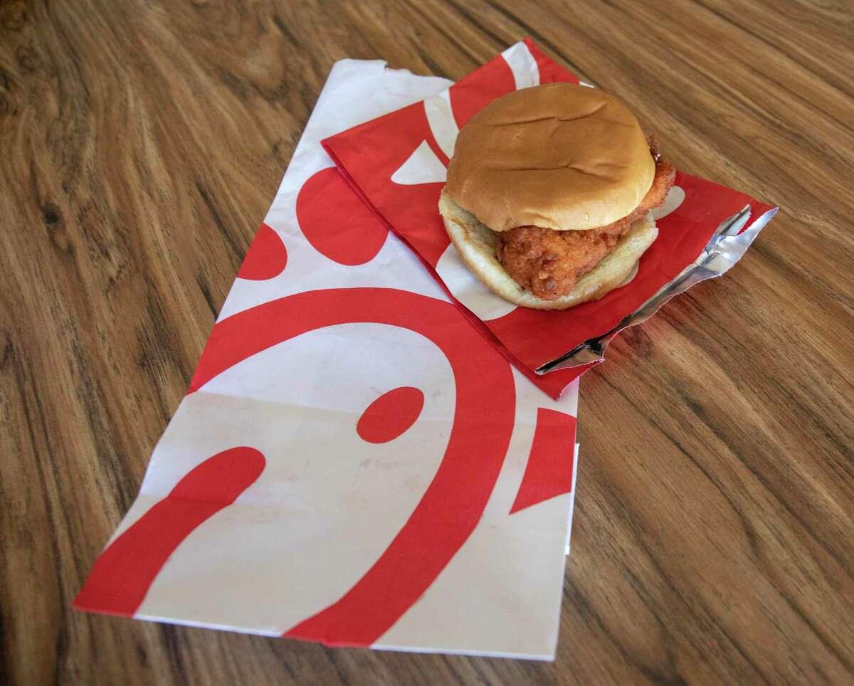 A Chick-Fil-A chicken sandwich.