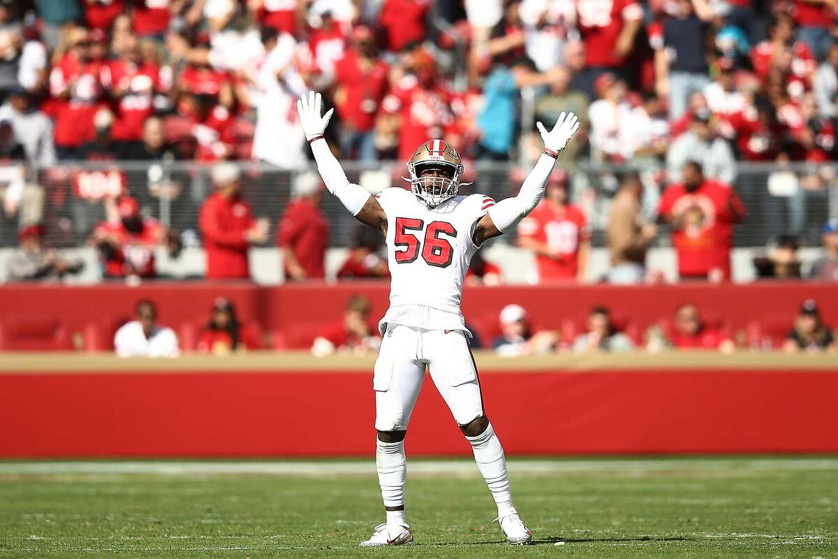 Kwon Alexander #56 of the San Francisco 49ers reacts against the Carolina Panthers during the second quarter at Levi's Stadium on October 27, 2019 in Santa Clara, California. (Photo by Ezra Shaw/Getty Images)