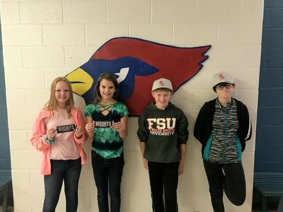 BRMS recently announced CARDS winners for the week of Friday, Oct. 25. These students were chosen for showing compassion, attitude, determination and success. CARDS winners (from left to right) are sixth grader, Jordyn Heyer; eighth-grader, Aubree Barhitte; fifth-grader, Dan Langell; and eighth-grader, Calyn Green. Not pictured is sixth-grader, Brennika Dermyer. (Courtesy photo)