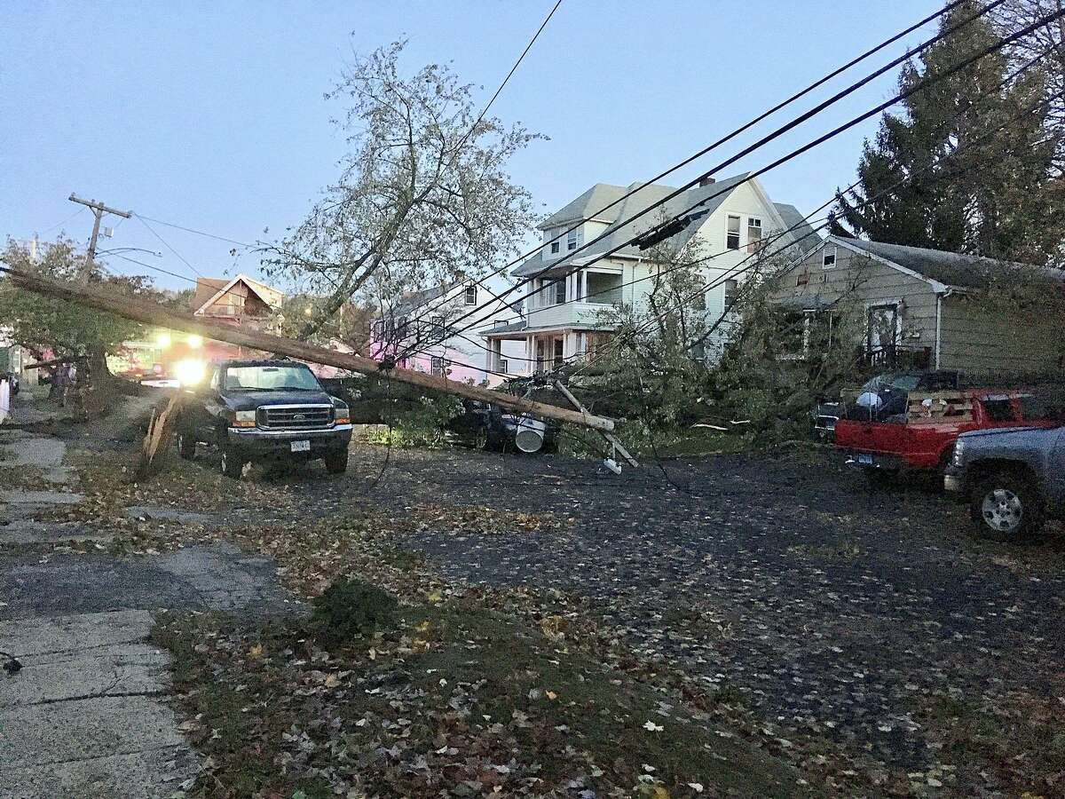 The Eleanor Street neighborhood in Stratford has extensive damage on Friday, Nov. 1, 2019 after a storm packing more than 50 mph winds swept through Connecticut.