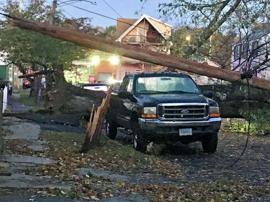 The Eleanor Street neighborhood in Stratford has extensive damage on Friday, Nov. 1, 2019 after a storm packing more than 50 mph winds swept through Connecticut. Photo: Linda Conner Lambeck /Hearst Connecticut Media