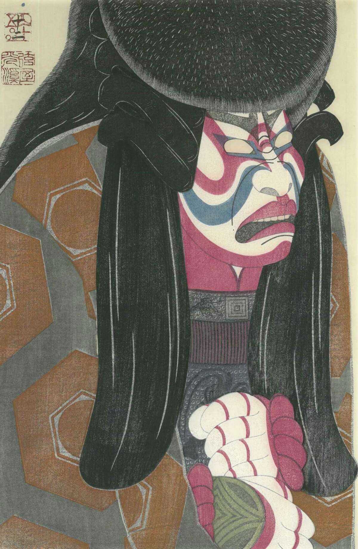 """Tsuruya Kokei shows his technical prowess by printing his woodblock images on difficult-to-use Ganpi Tori no Ko paper, a surface that does not absorb color quickly but produces rich results, as seen in """"Ichikawa Ebizo X as Akushichibyoe Kagekiyo in 'Kagekiyo,'"""" from May 1984."""