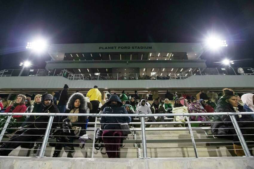 Fans braved the cold for the first game at Plant Ford Stadium between Eisenhower and Spring Thursday, Oct 31, 2019, in Spring, Texas.