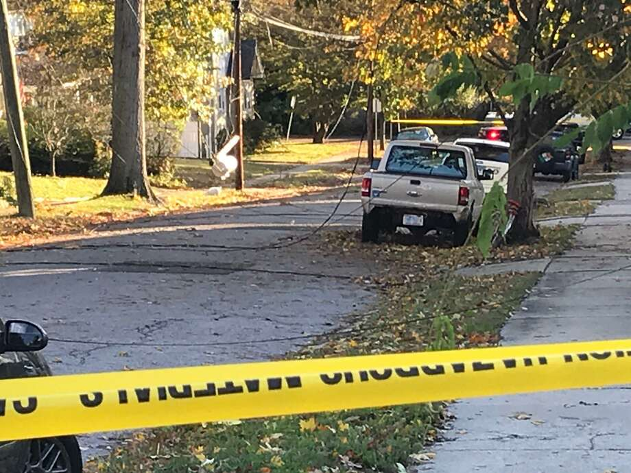 A transformer blown off a power pole on Grandview Avenue closed the residential street near Stamford Hospital on Friday morning. Photo: John Nickerson / Staff