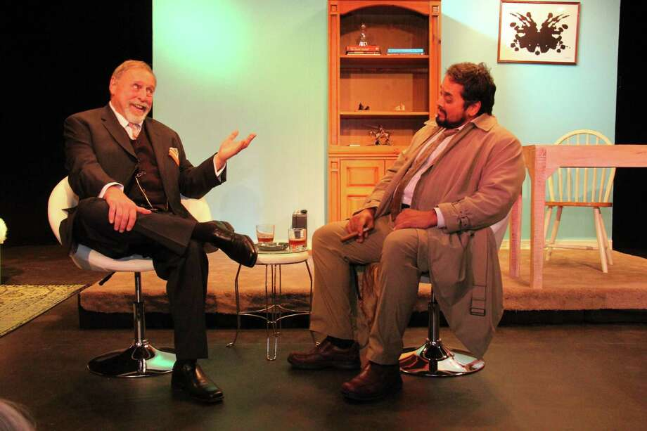 """Mark Rubino, as Dr. Flemming, and A.M. Bhatt, as Columbo, rehearse for """"Prescription: Murder, A Columbo Mystery,"""" at the Town Players Little Theatre in Newtown, Nov. 15 - Dec. 7. Photo: Darcey Stone / Contributed Photo"""