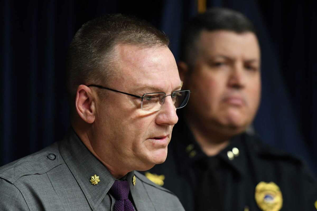Troop G Major Robert Patnaude speaks during a press conference where details about the arrest of two men in connection with the disappearance and death of Allyzibeth A. Lamont, the 22-year-old city woman who vanished earlier this week, on Friday Nov. 1, 2019, at the Troop G headquarters in Colonie, N.Y. (Will Waldron/Times Union)